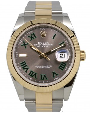 Rolex Datejust 41 Yellow Gold/Steel Slate Roman Dial Fluted Bezel Oyster Bracelet 126333 - PRE-OWNED