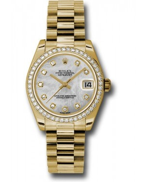 Rolex Datejust Ladies Midsize White Mother Of Pearl MOP Diamond Yellow Gold President 31mm 178288  - BRAND NEW