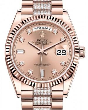 Rolex Day-Date 36 Rose Gold Rose Diamond Dial Fluted Bezel Diamond President Bracelet 128235 - BRAND NEW