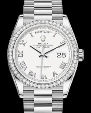 Rolex Day-Date 36 Silver Dial Diamond Bezel White Gold President Bracelet 128349RBR - BRAND NEW