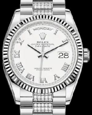 Rolex Day-Date 36 White Gold White Roman Dial & Fluted Bezel Diamond Set President Bracelet 128239 - BRAND NEW