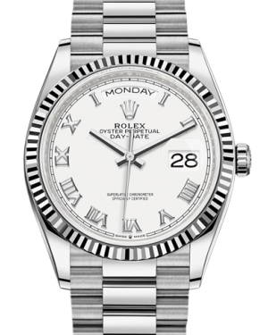 Rolex Day-Date 36 White Gold White Roman Dial & Fluted Bezel President Bracelet 128239 - BRAND NEW
