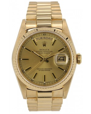 Rolex Day-Date 36 Yellow Gold Champagne Index Dial & Fluted Bezel President Bracelet 18238 - PRE-OWNED