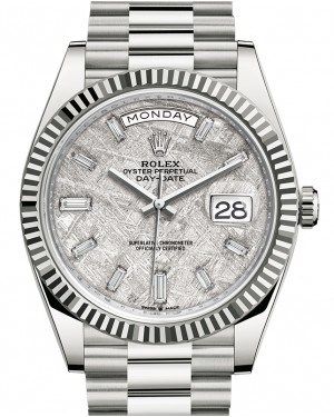 Rolex Day-Date 40 White Gold Meteorite Diamond Dial & Fluted Bezel President Bracelet 228239 - BRAND NEW
