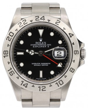 Rolex Explorer II 16570 GMT Black 40mm Oyster Stainless Steel Inscribed Bezel - PRE-OWNED