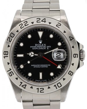 Rolex Explorer II Stainless Steel Black 40mm Dial Stainless Steel Oyster GMT Holes Case Non-SEL 16570 - PRE-OWNED