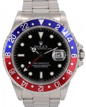 "Rolex GMT-Master II 16710 Black Dial Red/Blue ""Pepsi"" Bezel Stainless Steel Oyster Bracelet Holes Case"