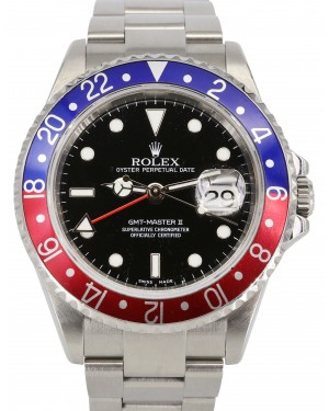 Rolex GMT-Master II Stainless Steel 40mm Pepsi Blue Red Bezel Black Oyster Bracelet No Holes 16710 - PRE-OWNED