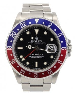 "Rolex Gmt-master II Stainless Steel 40mm Black Dial Red/Blue ""Pepsi"" Aluminum Bezel Non-SEL Oyster Bracelet 16710 Holes Case - PRE-OWNED 1990-99"