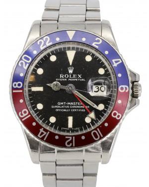 "Rolex GMT-Master Vintage 1969 Black Dial ""Pepsi"" Red/Blue Bezel Stainless Steel Bracelet 1675 - PRE-OWNED"