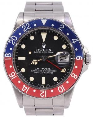 "Rolex GMT-Master Vintage 1969 Mark V Black Dial ""Pepsi"" Red/Blue Bezel Stainless Steel Bracelet 1675 - PRE-OWNED"