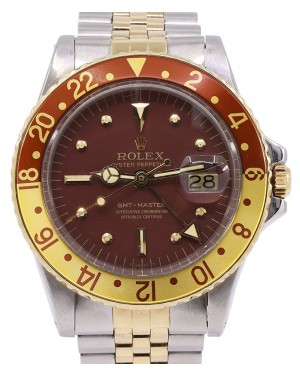"Rolex GMT-Master Vintage Brown Dial ""Root Beer"" Brown/Yellow Bezel Stainless Steel Bracelet 1675 - PRE-OWNED"