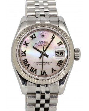 Rolex Lady-Datejust 26 White Mother of Pearl MOP Roman Dial Fluted White Gold Stainless Steel Jubilee 179174 - PRE-OWNED