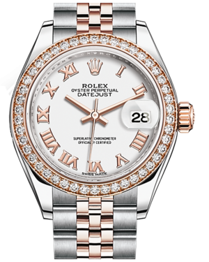 Rolex Lady Datejust 28 Rose Gold/Steel White Roman Dial & Diamond Bezel Jubilee Bracelet 279381RBR - BRAND NEW