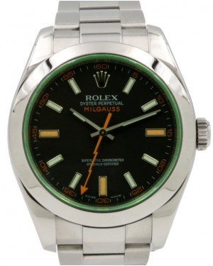 Rolex Milgauss Anniversary Green Crystal Stainless Steel Black Dial Smooth Bezel Oyster Bracelet 116400GV - PRE-OWNED