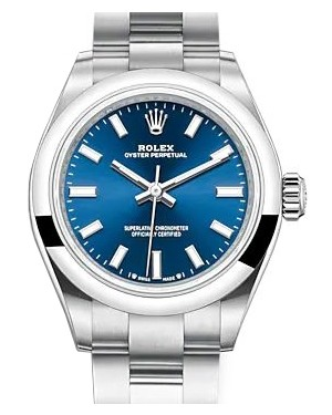 Rolex Oyster Perpetual 28 Stainless Steel Blue Index Dial & Smooth Domed Bezel Oyster Bracelet 276200 - BRAND NEW