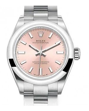 Rolex Oyster Perpetual 28 Stainless Steel Pink Index Dial & Smooth Domed Bezel Oyster Bracelet 276200 - BRAND NEW