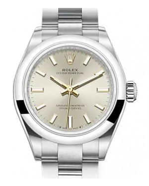 Rolex Oyster Perpetual 28 Stainless Steel Silver Index Dial & Smooth Domed Bezel Oyster Bracelet 276200 - BRAND NEW