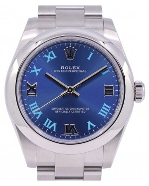 Rolex Oyster Perpetual 31 Ladies Midsize Stainless Steel Blue Roman Dial Smooth Bezel & Oyster Bracelet 177200 - PRE OWNED