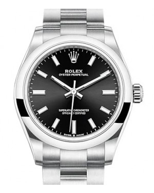 Rolex Oyster Perpetual 31 Stainless Steel Black Index Dial & Smooth Bezel Oyster Bracelet 277200 - BRAND NEW