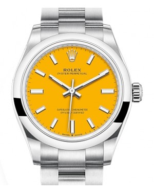 Rolex Oyster Perpetual 31 Stainless Steel Yellow Index Dial & Smooth Bezel Oyster Bracelet 277200 - BRAND NEW