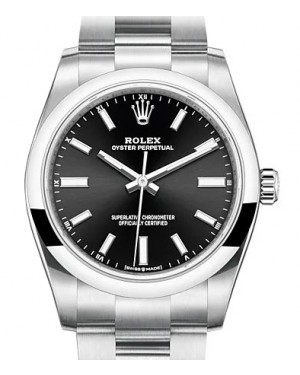 Rolex Oyster Perpetual 34 Stainless Steel Black Index Dial & Smooth Bezel Oyster Bracelet 124200 - BRAND NEW