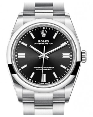 Rolex Oyster Perpetual 36 Stainless Steel Black Index Dial & Smooth Domed Bezel Oyster Bracelet 126000 - BRAND NEW