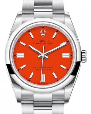 Rolex Oyster Perpetual 36 Stainless Steel Coral Index Dial & Smooth Domed Bezel Oyster Bracelet 126000 - BRAND NEW