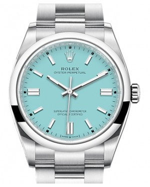 Rolex Oyster Perpetual 36 Stainless Steel Turquoise Index Dial & Smooth Domed Bezel Oyster Bracelet 126000 - BRAND NEW