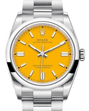 Rolex Oyster Perpetual 36 Stainless Steel Yellow Index Dial & Smooth Domed Bezel Oyster Bracelet 126000 - BRAND NEW