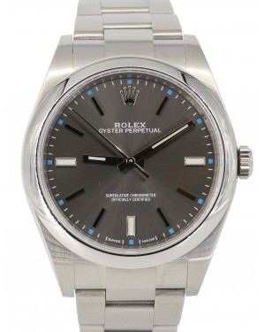 Rolex Oyster Perpetual 39 Stainless Steel Dark Rhodium Index Dial & Smooth Bezel Oyster Bracelet 114300 - PRE-OWNED