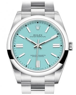 Rolex Oyster Perpetual 41 Stainless Steel Turquoise Index Dial & Smooth Bezel Oyster Bracelet 124300 - BRAND NEW