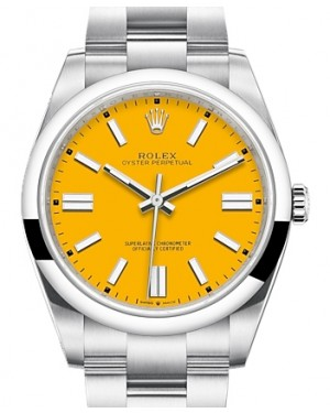 Rolex Oyster Perpetual 41 Stainless Steel Yellow Index Dial & Smooth Bezel Oyster Bracelet 124300 - BRAND NEW