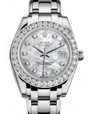Rolex Pearlmaster 34 White Gold & White Mother of Pearl Diamond MOP Dial & Diamond Bezel 81299 BRAND NEW