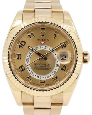 Rolex Sky-Dweller 18k Yellow Gold Champagne Arabic 42mm GMT Calendar 326938
