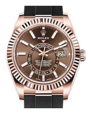 Rolex Sky-Dweller Rose Gold Chocolate Index Dial Fluted Bezel Rubber Strap 326235 - BRAND NEW