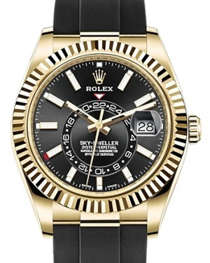 Rolex Sky-Dweller Yellow Gold Black Index Dial Fluted Bezel Rubber Strap 326238 - BRAND NEW