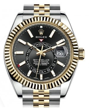 Rolex Sky-Dweller Yellow Gold/Steel Black Index Dial Fluted Bezel Jubilee Bracelet 326933 - BRAND NEW
