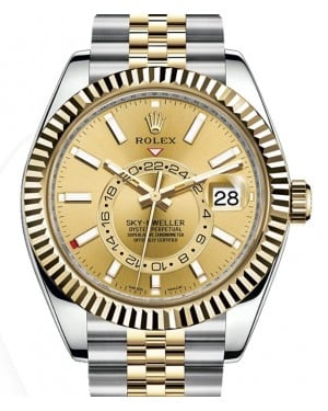 Rolex Sky-Dweller Yellow Gold/Steel Champagne Index Dial Fluted Bezel Jubilee Bracelet 326933 - BRAND NEW