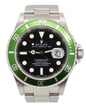 Rolex Submariner 16610LV Green TRUE 50th Anniversary Black Date Stainless Steel Flat 4 Kermit 2004 - PRE-OWNED