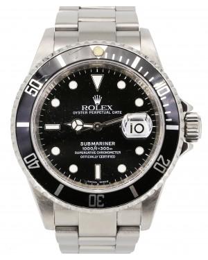 Rolex Submariner Date Stainless Steel Black Dial & Aluminum Inscribed Rehaut Bezel Oyster Bracelet 16610 - PRE-OWNED