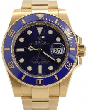 Rolex Submariner Date 18k Yellow Gold Blue Dial & Ceramic Bezel Oyster Bracelet 116618LB - PRE-OWNED