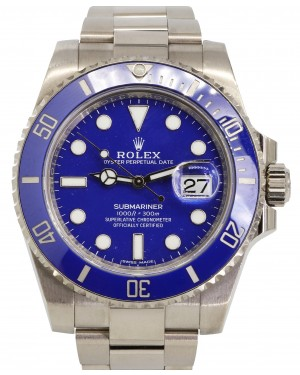 Rolex Submariner White Gold Blue Dial & Ceramic Bezel Oyster Bracelet 116619LB - PRE-OWNED