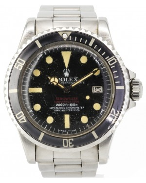 "Rolex Vintage Sea-Dweller Submariner ""Double Red"" Stainless Steel Black Dial & Bezel Oyster Bracelet 1665 - PRE-OWNED"