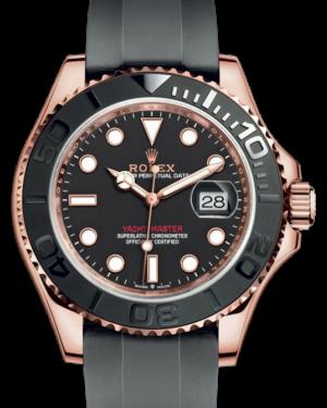 Rolex Yacht-Master 40 Rose Gold Everose 18k Black Dial Ceramic Bezel Oysterflex Rubber Bracelet 126655 - BRAND NEW