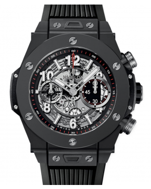 Hublot Big Bang Unico Black Magic Ceramic Skeleton 45mm Dial Bezel Rubber Strap 411.CI.1170.RX - BRAND NEW
