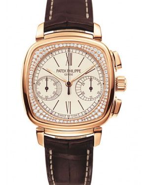 Patek Philippe Complications Ladies Chronograph Silver Opaline Roman Dial Rose Gold Diamond Set Bezel Brown Leather Strap Manual 7071R-001 - BRAND NEW