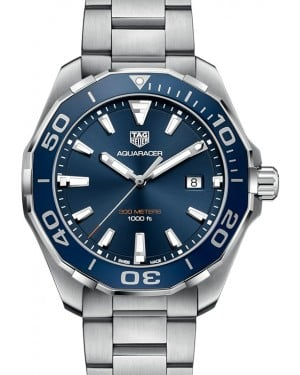 Tag Heuer Aquaracer Stainless Steel Blue Index Dial & Stainless Steel Bracelet WAY101C.BA0746 - BRAND NEW