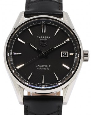 Tag Heuer Carrera Stainless Steel Black Index Dial & Black Leather Strap WAR211A.FC6180 - PRE-OWNED