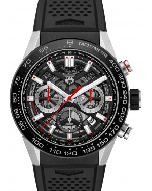 Tag Heuer Carrera Stainless Steel Black Index Dial & Rubber Strap CBG2A10.FT6168 - BRAND NEW